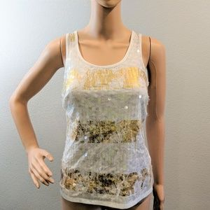 White & Gold Daytrip Racer Back Sequin Tank Top